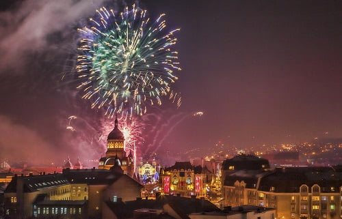 Cluj Napoca,Romania- December 1st,2013: Beautiful fireworks show takes place in Avram Iancu Square in Cluj Napoca with the ocassion of The Romanian National day on 1 December 2013 in Cluj Napoca, Romania.