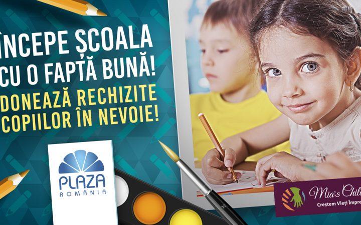 Colectare de rechizite pentru copiii din familii defavorizate la Plaza România