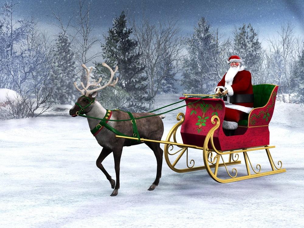 Santa Claus with the sleigh