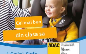 Scaunul auto i-Spin Safe de la Joie, rezultate de excepție la testarea ADAC